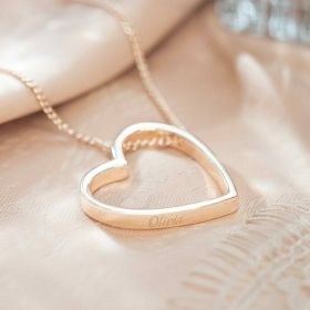 Silver Open Heart Pendant Necklace