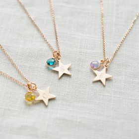 Personalised Star Birthstone Necklace in Rose Gold with a hand stamped initial
