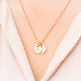 Gold Double Script Initial Disc Necklace