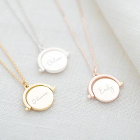 spinner name necklace in silver, rose gold and gold