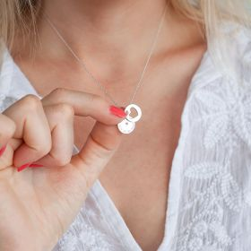 Silver Disc Necklace Personalised with message and birthstone, and cut out heart disc charm