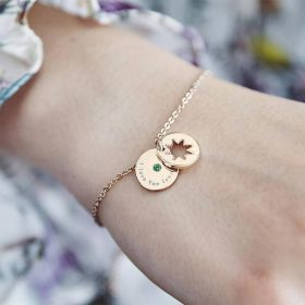 Gold Chain bracelet with a Disc Charm personalised with message and birthstone and star cut out disc charm