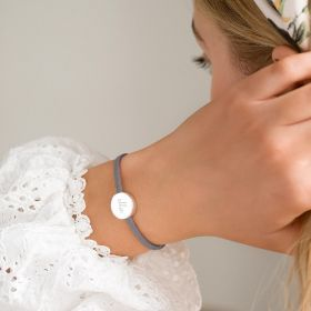 Suede Bracelet with Sliding Disc Charm Personalised with Modern Script Style Name