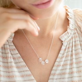 Rose Gold Plated Sterling Silver Birth Flower Sliding Charm necklace