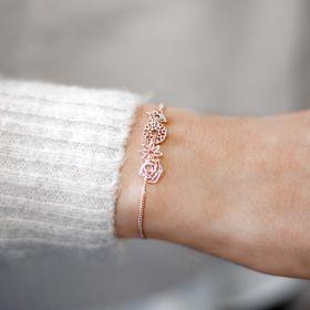 slide on birthflower sterling silver bracelet