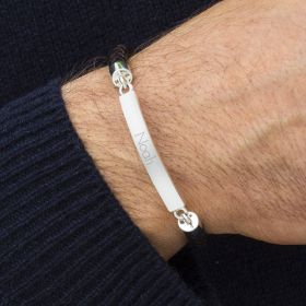 Huracan Personalised Mens Sterling Silver Bar Bracelet