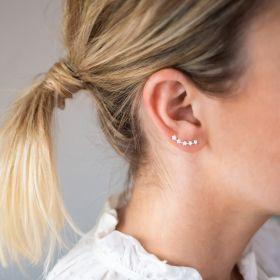 Sterling Silver Star Climber Stud Earrings