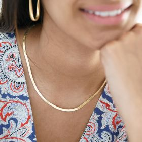 gold plated sterling silver herringbone chain necklace