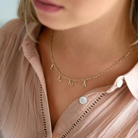 Statement Chain necklace with Contemporary Letter Charms