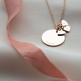 Family Heart Sterling Silver Necklace Engraved with a name and up to 3 chosen Initials