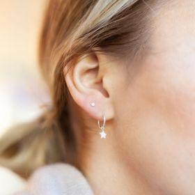 Sterling Silver Hoop Earrings with hanging star Charm