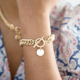 Gold Plated Chain Bracelet with Personalised Disc Charm
