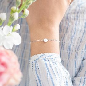 """thea personalised friendship bracelet in silver with engraved """"S"""""""